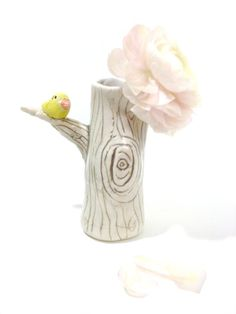 Tree Vase Ceramic Porcelain Pottery with Bird  MADE TO ORDER