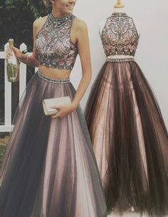 Two Pieces Prom Dresses,Beaded Prom Gowns, High Neck Prom Dresses,Grey Prom Dresses, Rhinestone Prom Gowns,Sleeveless Prom Dresses,Fashion Prom Dresses,Design Prom Dress