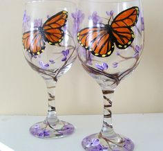 hand painted wine glasses by CanadianCreationz, via Flickr