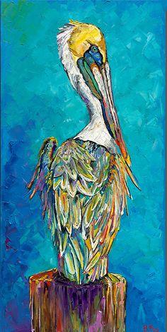 Pelican Painting Elegant Pelican Azul by Becky Fos Imposto Beckyfos Cyan Pelican Art, Pelican Drawing, Louisiana Art, Coastal Art, Wildlife Art, Beach Art, Canvas Art, Bird Canvas, Painting Canvas