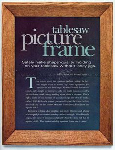 #1407 Table Saw Picture Frame - Woodworking Plans