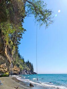 Mystic Beach and rope swing at Juan del Fuca Provincial Park, British Columbia Victoria Bc Canada, Victoria British Columbia, Vancouver Beach, Vancouver Island, Sunshine Coast, Great Places, Beautiful Places, Places To Travel, Places To Go
