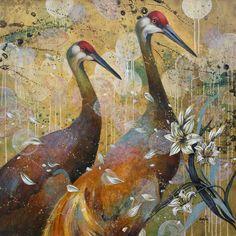 Seeking Wisdom 40 x 40 Acrylic on Canvas by Catherine Earle Illustrations, Illustration Art, Feather Wall Art, Bird Artwork, A Level Art, Wildlife Art, Botanical Art, Landscape Paintings, Amazing Art