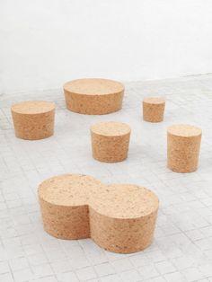 jasper morrison's cork furniture collection at new york's kasmin gallery Wine Bottle Corks, Wine Bottle Stoppers, Cork Stoppers, Fireplace Frame, Cork Material, Morrisons, Minimalist Furniture, Cork Crafts, Key Design