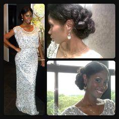 White and Gold Wedding. Bridesmaid Hair. Wedding day natural hair