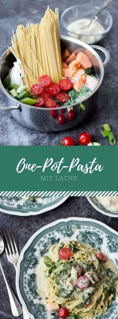 A simple, German recipe for delicious one-pot pasta with salmon and spinach! A simple, German recipe for delicious one-pot pasta with salmon and spinach! Healthy Pastas, Healthy Snacks, Healthy Recipes, One Pot Dishes, One Pot Meals, Salmon Recipes, Pasta Recipes, Paleo Dinner, Dinner Recipes