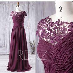 2017 Plum Bridesmaid Dress Long One Shoulder Chiffon Wedding