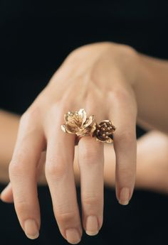 Cherry Blossom Statement Ring In Brass, Bronze or Silver   Etsy