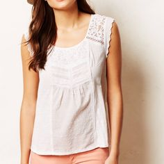 """Anthropologie Lace Lined Tee We love a piece that speaks to our inner hopeful romantic, to our softest side. With dainty lace detailing, Meadow Rue's tee is the perfect balance for distressed denim. By Meadow Rue Pullover styling Cotton Hand wash 17"""" across chest, 22.5""""L Great condition except for faint makeup marks on the collar and a tiny stain near the bottom of the shirt (both pictured and hardly noticable at all!) Anthropologie Tops Blouses"""