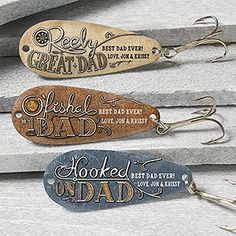 "This is such a cute Father's Day gift idea for Dads who love to fish! It's the Personalized ""O'Fishel Dad"" Father's Day Fishing Lure Set! Personalize each custom lure with a cute fish saying or write your own! LOVE it!"