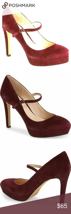 Vice Camuto SUGAR PLUM Mary-Jane Pumps Curvaceous lines further the modern design of an almond - toe pump topped with a thin Mary-Jane strap. Buttery soft suede, a slender heel and modest platform add to the allure, making for a look that can be worn day-to-night with ease :) Vince Camuto Shoes Heels