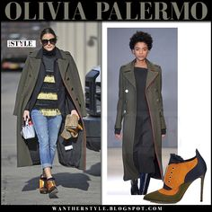 Olivia Palermo in green military admiral coat and orange and green booties