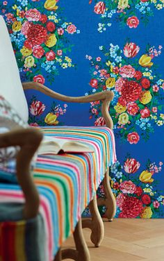 Striped fabric seat covers, floral wallpaper
