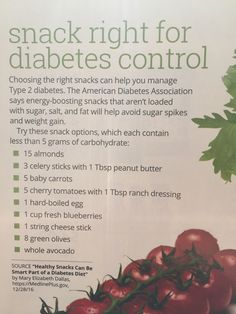 Snack ideas for those with diabetes