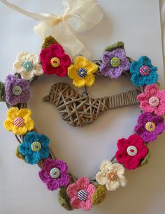 Crochet Flower Hanging Wicker Heart Decoration/Door Hanger with Bird and ribbon and buttons, anniversary, valentine, new home gift