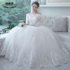 Long-sleeved dress Korean word shoulder wedding dress the bride wedding Qi pregnant big yards 2016 new winter