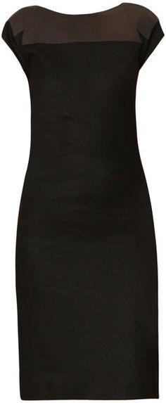 Bottega Veneta Leather Top Flannel Jersey Dress