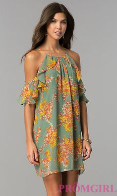 Short Cold-Shoulder Casual Dress with Floral Print