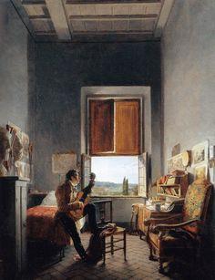1817 Louis Vincent Léon Pallière dans sa chambre à la Villa Médicis  ~  Jean Alaux ~ (French, 1786-1864).