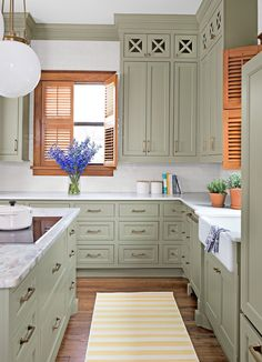 Dark, light, oak, maple, cherry cabinetry and vintage wood kitchen cabinets for sale. CHECK THE PIN for Many Wood Kitchen Cabinets. Sage Kitchen, Kitchen Ikea, Green Kitchen Cabinets, Kitchen Cabinet Colors, Painting Kitchen Cabinets, Kitchen Colors, Kitchen Interior, New Kitchen, Kitchen Decor