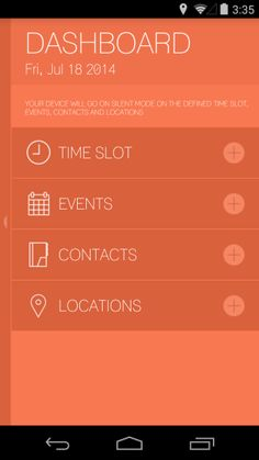 Mr. Silent dashboard: Set Device To Silent Or Vibrate Based On Time, Location, Event, Or Contact