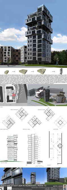Studentský projekt. LS 2013/2014. FSv ČVUT v Praze. Residential Architecture, Skyscraper, Multi Story Building, Tower, Praha, Architectural Presentation, Thalia, Landscape, Projects