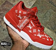 Supreme x Louis Vuitton x Air Jordan 3 - Louis Vuitton Sneakers, Louis Vuitton Hombre, Zapatillas Louis Vuitton, Luis Vuitton Shoes, New Sneakers, Custom Sneakers, Custom Shoes, Sneakers Fashion, Jordan Sneakers