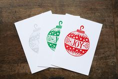 Joy Christmas Holiday Cards, Linocut Block Print, Red Green or Silver, Handmade Sunflower Cards, Linoleum Block, Fabric Journals, Flower Prints, Red Green, Holiday Cards, Christmas Holidays, Joy, Illustration