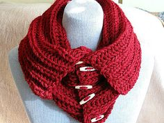Knitted red neckwarmerneckwrapscarfcowl with oval by selecta6, $40.00