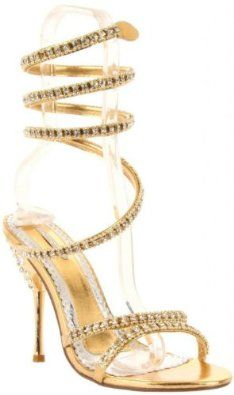 £53.00  Shoehorne Patricia-03 - Womens Gold Sparkling Rhinestone/Diamante Toe Strap & Leg Wrap High Heeled Evening Bridal Party Sandals - Avail in Ladies Shoe Size 3-8 UK: Amazon.co.uk: Shoes & Accessories