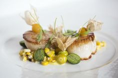Smoked #Scallops with curry cauliflower   cucamelon, pinapple tomatillo, lemon vinaigrette | The Carillon in #Austin, TX