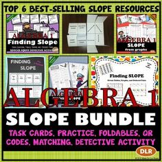 6 best-selling resources for FINDING SLOPE! Includes task cards, QR code activity, 2 foldables for interactive notebooks, independent practice and a fun detective activity!