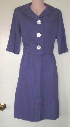 1950s vintage jackie o purple midi skirt suit size extra small xs xxs 2xs 0 2 4 #handmade