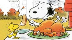 Snoopy and Woodstock preparing to eat their Thanksgiving feast!