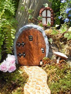 Fairy Door Set  Fairy Door Window and Pathway by LaurelsFairyDoors, $49.99