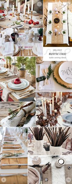 50 Christmas and New Year's table setting ideas : the rustic chic table setting