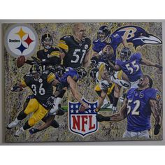 """Baltimore Ravens vs. Pittsburgh Steelers Deacon Jones Foundation 30"""" x 40"""" Turf War Dueling Giclee on Canvas"""