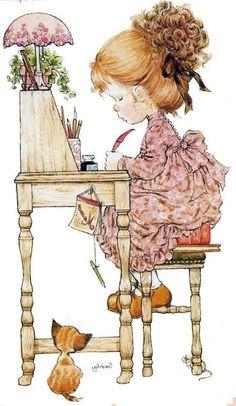Holly Hobbie, Sara Key Imagenes, Sara Kay, Hobby Horse, Vintage Postcards, Vintage Children, Cute Drawings, Tattoo Drawings, Designs To Draw