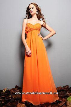 Langes Empire Abendkleid in Orange mit Spaghetti Träger und Blume  www.modekarusell.eu