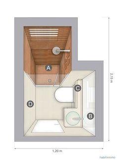banheiro com detalhe em madeira