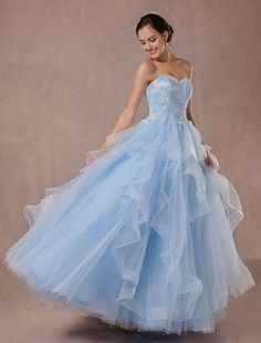 Blue Wedding Dress Tulle Ball Gown Lace Applique Strapless Beading Princess  Bridal Gown Backless Floor- 97e46ba778e5