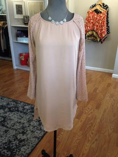 JAX Look of the Day! You will be pretty in peach in this new chiffon dress with studded sleeves! We added a small rhinestone necklace to finish the look! #jaxhaddonfield #jaxboutique #lookoftheday