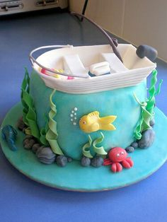 Birthday cake Fishing ✅ Best 79 ideas of Birthday cake Fishing 2019 with our website HD Recipes. Fish Cake Birthday, First Birthday Cakes, Fishing Theme Cake, Fishing Cakes, Cupcakes, Cupcake Cakes, Boat Cake, Island Cake, Ocean Cakes