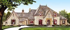 <div><ul><li>Loaded with high end features, this luxury French Country house plan boasts a wine closet, an exercise cabana, lots of built-ins and an in-law apartment over the two car garage.</li><li>There's even a windowless safe room off the garage for stormy weather.</li><li>In the gourmet kitchen, you get a huge island that adds lots of counter space and storage, in addition to the walk-in pantry.</li><li>The vaulted and beamed great room is a sight to behold and offers a wet bar for…