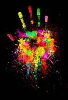 Rainbow colors ❖de l'arc-en-ciel❖❶Toni Kami Colorful hand print art