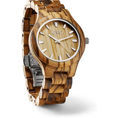 Fieldcrest Zebrawood & Maple - Natural Wood Watch by JORD ($129) ❤ liked on Polyvore featuring jewelry and watches