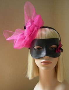 Leather Orchid And Tulle Fascinator With Detachable Harlequin Mask