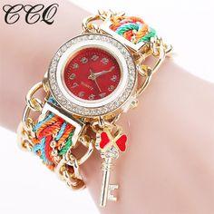 Barato 2016 Mulheres Marca Ouro CCQ Tecer Mão Fita Moda Relógios De Cristal De Luxo Chave Branco Analógico Quartz Watch For Ladies C64, Compro Qualidade Relógios das mulheres diretamente de fornecedores da China: