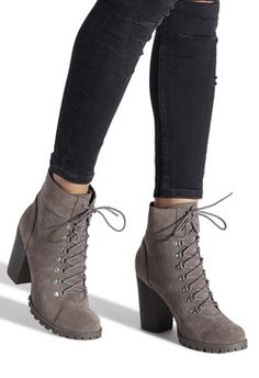 This hiker-style bootie features a lug sole, chunky heel, stitched detailing and D-rings at the laces. Wedge Sandals Outfit, Shoes Heels Boots, Heeled Boots, Gucci Boots, Block Heel Ankle Boots, Hype Shoes, Dream Shoes, Trendy Shoes, Shoe Dazzle