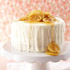 Triple-Layer Lemon Cake This beautiful three layer cake is elegantly light and beautiful to serve for a wedding or baby shower or for summer entertaining.